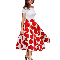 HimanJie Summer Ladylike Patchwork Red Dots Vintage Slash Neck Womens Chic Gorgeous Ball Gown Off shoulder Casual Vintage Dress