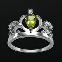 AndyChen Genuine 100 925 Sterling Silver Solid Jewelry Green Stone Crown Rings For Women Wedding Bague
