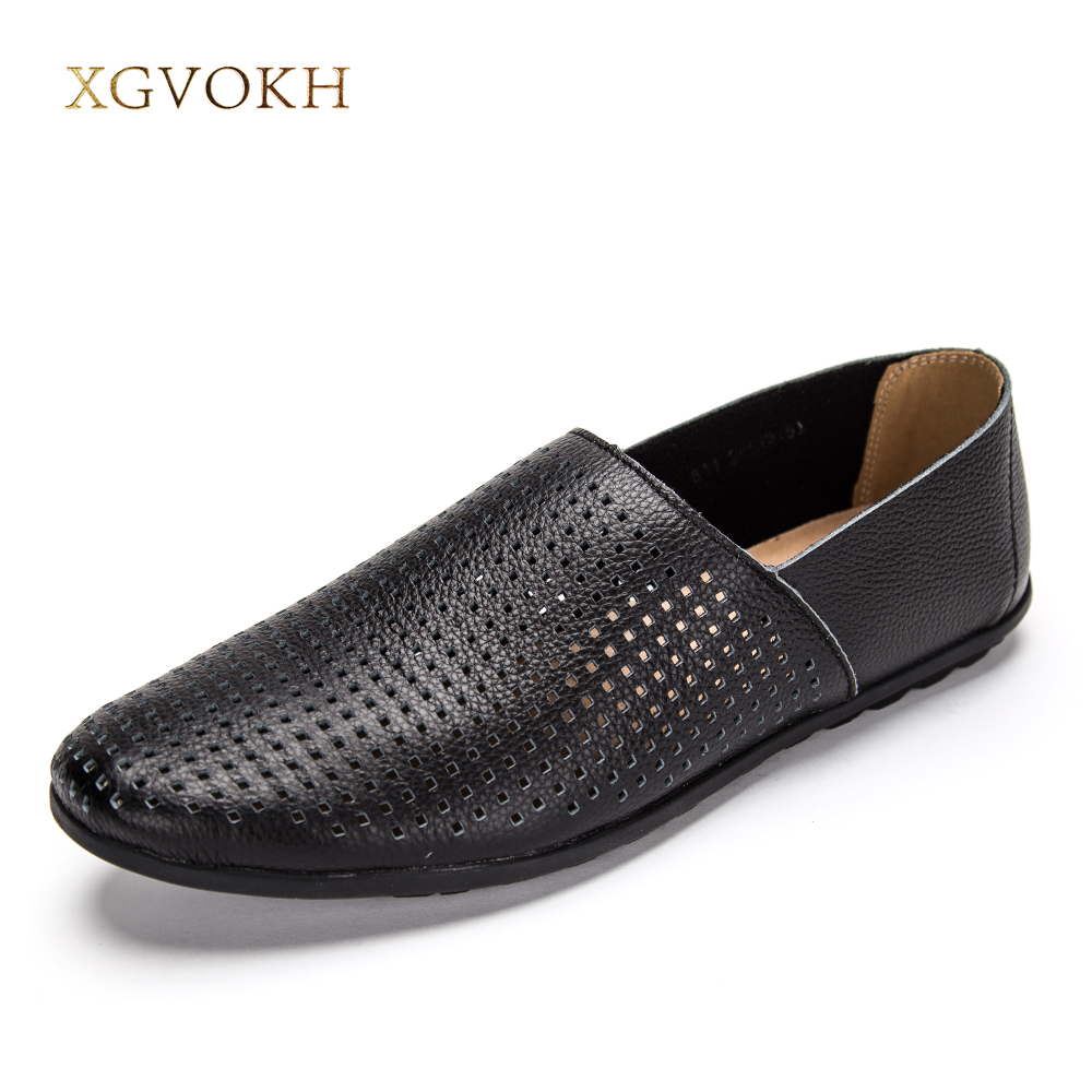 XGVOKH 37-46 Plus Size Men Genuine Leather Driving Moccasin Loafers Shoes Solid Flats Breathable Hollow Summer Men Casual Shoes цена