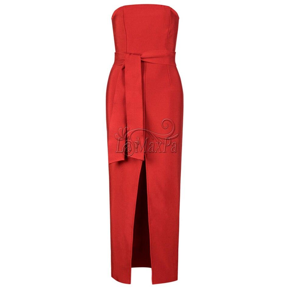 Piste De Ceinture New Femmes Robe 2017 Sans Moulante Soirée Fente Rouge Robes Hiver Manches Bretelles Sexy wOqzxBxRI