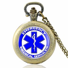 New Arrival Bronze Style Emergency Technician Medical Pocket Watch Men Necklace Vintage Pendant