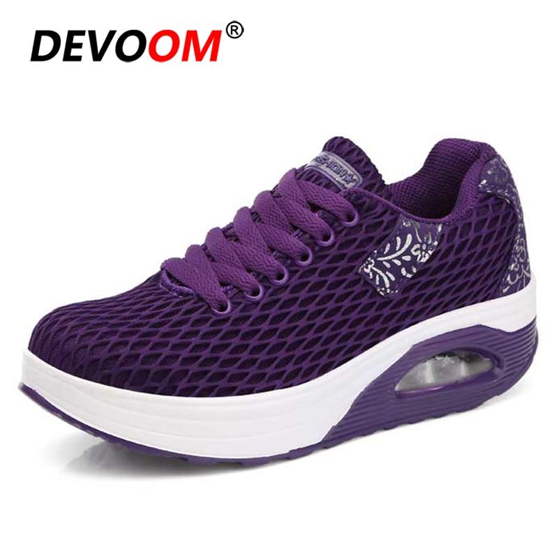 2018 púrpura gris Shake Aumento Aire Suave Verano Primavera Moda Suela 41 Zapatilla Femenino Malla Negro Zapatos Cómoda Altura Mujer Cojines UqHEnwxt