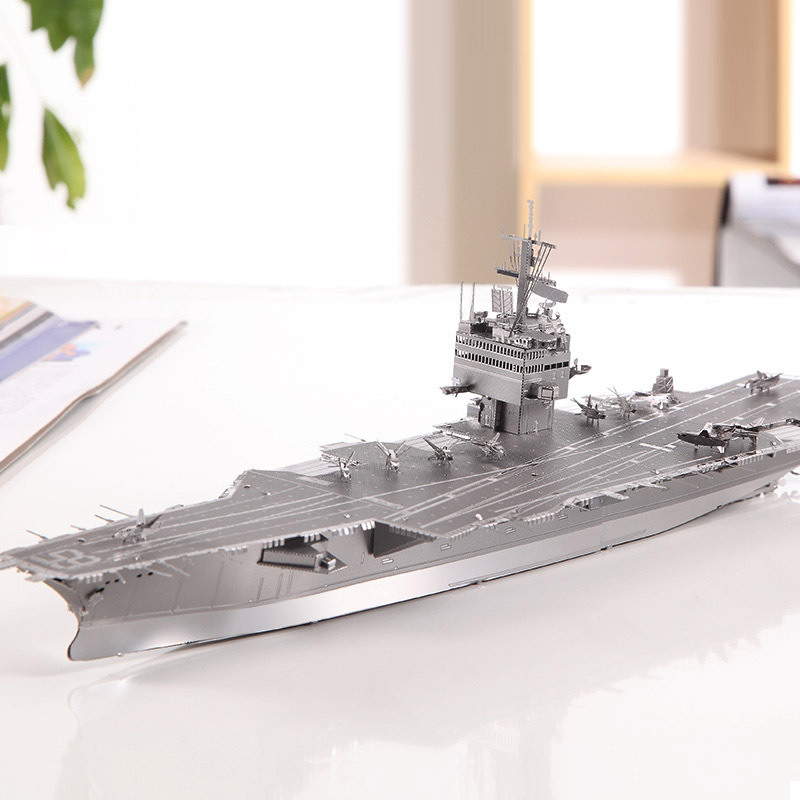 3D Silver Puzzle USS Enterprise Metal Stainless Steel Military Aircraft Carrier Building DIY Assembly Model gold kinkaku ji puzzle japanese architecture 3d diy assembly model stainless steel metal brass 2 3 sheets sydney opera house