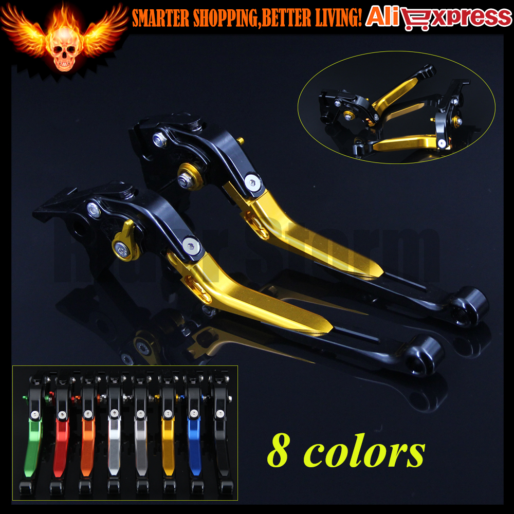 Gold+Black 8 Colors CNC Motorcycle Folding Extendable Brake Clutch Levers For Yamaha FZ8 2011 2012 2013 2014 2015 new brand 8 colors optional brake lever black folding
