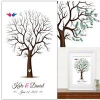 60*80 CM Wedding Decorations Vintage Wedding Fingerprint Tree Guest book Alternative Wedding Guestbook for Baby Bridal Shower