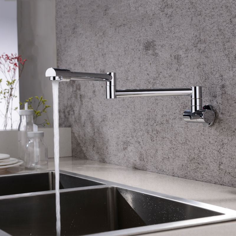 Solid Brass Kitchen Wall Mount Pot Filler Faucet Swivel folding retractable rotary stretch vegetables basin