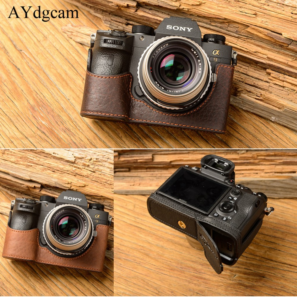 [VR] Brand Genuine Leather Camera case For Sony A9 A-9 A7R-M3 A7R Mark III Camera Bag Handmade Half Cover Handle Vintage Case [vr] brand handmade genuine leather camera case for sony a7ii a7 mark 2 a7r2 a7r ii camera bag half cover handle vintage case