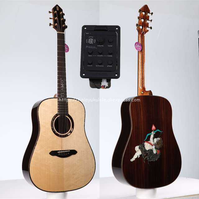 """Full Solid Guitar,41"""" Solid Spruce Top/Rosewood Body(Cupid's Arrow) TA-DS40A,Full size guitar with pickup,with 20mm cotton bag,"""