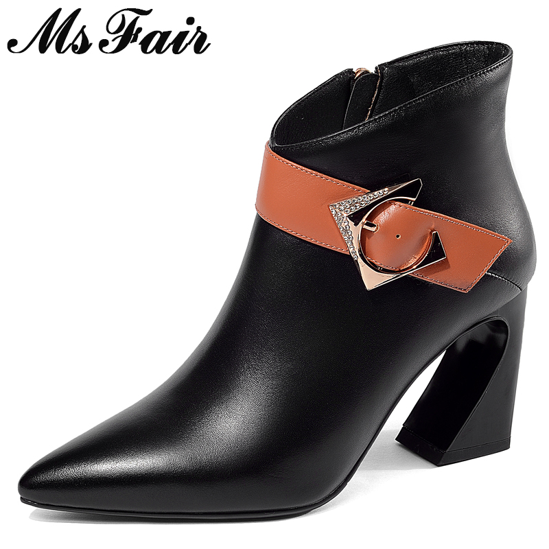 MSFAIR Pointed Toe Square heel Women Boots Fashion Zipper Buckle Ankle Boot Women Shoes High Heel Short Plush Boot For Woman sexy women s short boots with square buckle and pointed toe design