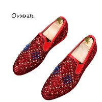 Ovxuan Bright Sequin Men Loafers Fashion Glitter Rivets Weddind Shoes Slip On Male Casual Shoes Flats Italian Shoes for Men 2018