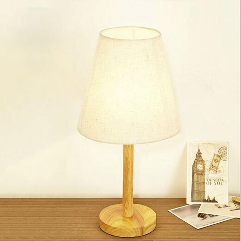 ФОТО Modern Fashion Table Lamp Wooden Base Fabric Lampshade E27 AC 110V 220V For Bedroom Living Room Home Decro Desk Night Light