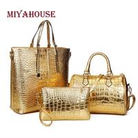 Miyahouse 3Pcs/Set Large Capacity Shoulder Bag For Female Crocodile Pattern Crossboby Bag Lady Gold Silver Women Tote Handbag