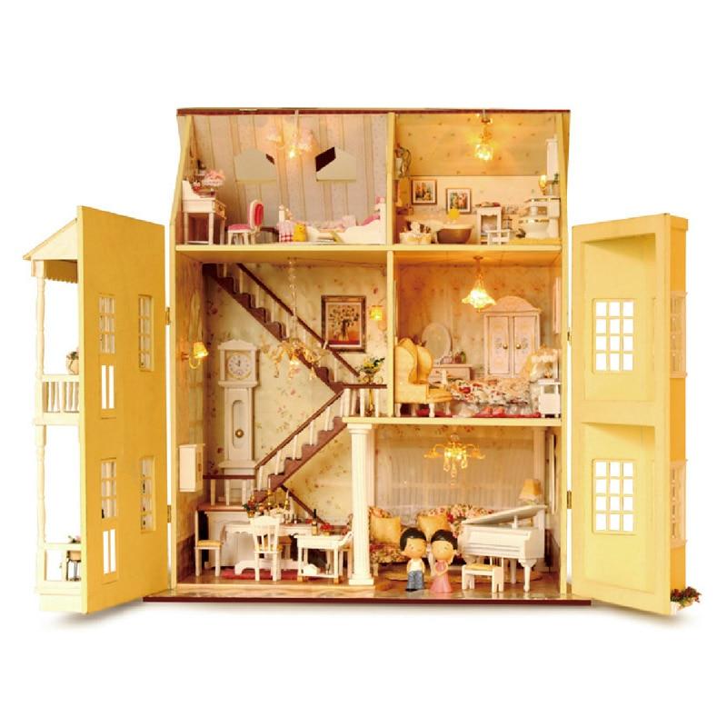 Cutebee DIY Casa miniatura con muebles LED música polvo cubierta modelo bloques De construcción juguetes para niños Casa De Boneca - 4