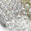 "10mm Clear AB Crystal Glass Faceted Round Beads 26""L xcb1099"