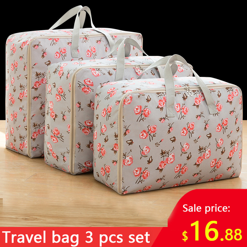 3 Piece Set Vacation Travel Bag Clothes Storage Bag Large Capacity Big Bag Clothes Quilt Bag Moisture-proof Moving House Pack