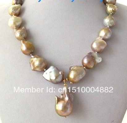 Free shipping  Natural WHITE Unusual Keshi Keishi Baroque Pearl Necklace&Pendant
