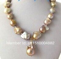 Free shipping Natural WHITE Unusual Keshi Keishi Baroque Pearl Necklace&Pendant