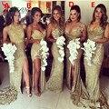 Блестящие Золотые Блестки Длинные Платья Невесты 2016 Элегантных Женщин Формальное Свадьбы Платья с Высокой Щелевой Выполненном на заказ