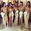 Sparkly Lantejoulas de Ouro de Longo Vestidos 2016 Mulheres Elegantes Formal da Festa de Casamento Da Dama de honra Vestidos com Alta Fenda Custom Made