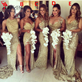 Sparkly de Oro Lentejuelas Largo Vestidos de dama de Honor 2016 de Las Mujeres Elegantes Formales De La Boda Vestidos de Fiesta de Alta Hendidura Por Encargo