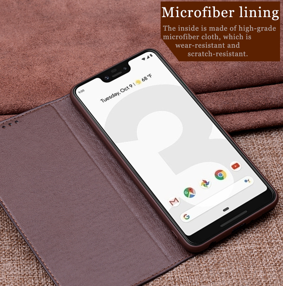 brand new d3df4 d2026 RYKKZ Genuine Leather Flip Case For Google Pixel 3 Cover Magnetic Case For  Google Pixel 3 3 XL Cases Leather Cover Phone Cases