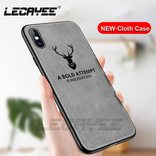 цены Fabric DEER Pattern Cloth Phone Cases for iPhone 6 6s 7 8 Plus Soft TPU Protective Case for iPhone X XR XS Max Coque Back Cover