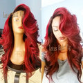 Fashion Ombre red dark root body wave synthetic lace front wig for women 2 tones black to red lace front wig heat resistant Hot
