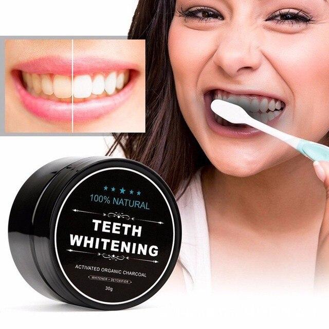 Polvo blanqueador de dientes de carbón activado natural manchas de té de café de eliminación de fumar limpieza profunda cuidado de la higiene bucal TSLM2