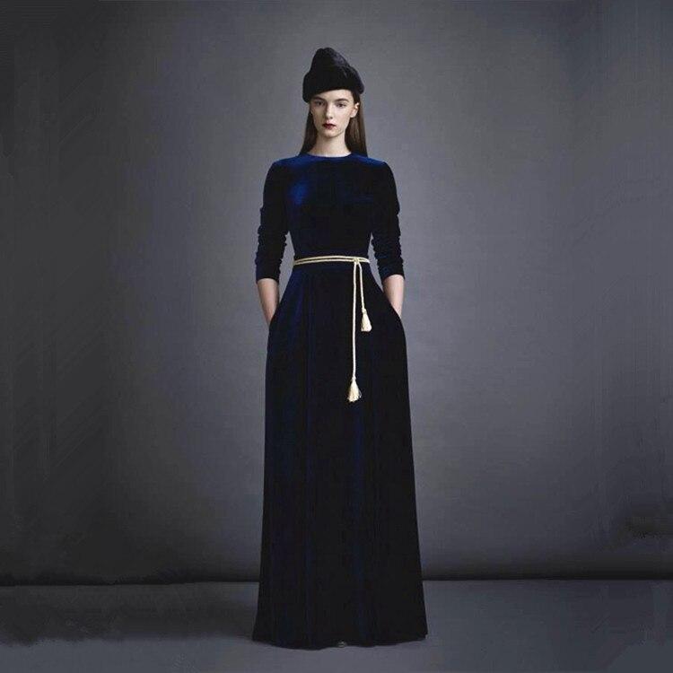 Plus Haute O De 2019 Taille La cou Automne Piste Velours Longues Noir Robe bleu À Maxi Manches Vintage 3xl Printemps Européen Qualité Femmes cTSpYzWSqZ
