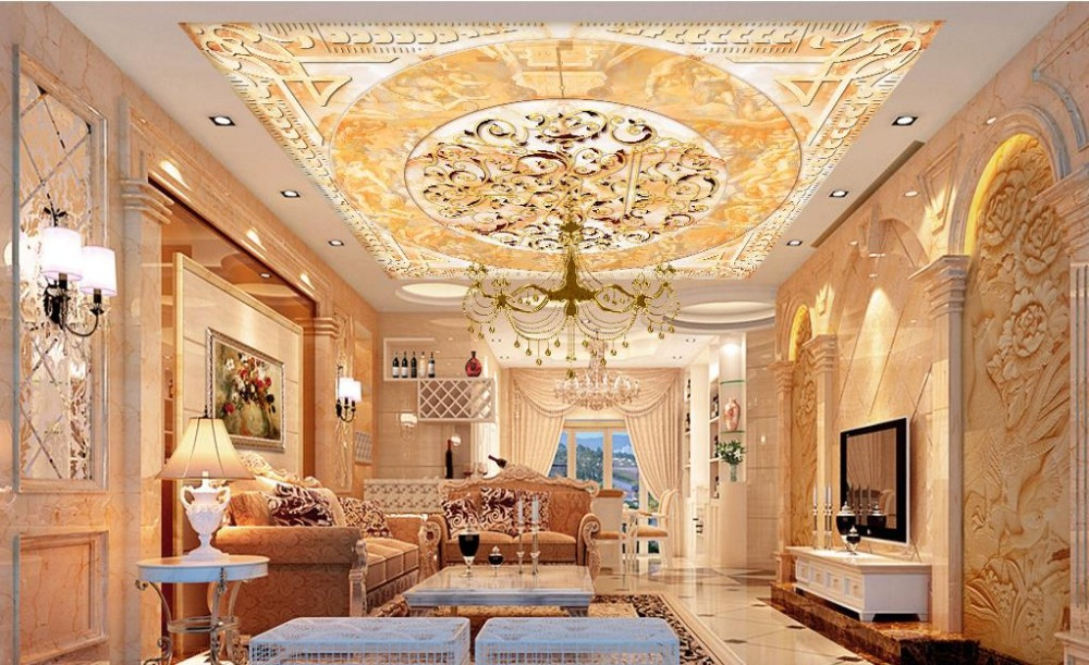 Custom 3d wallpaper mural ceiling magnolia marble 3d for Ceiling mural wallpaper
