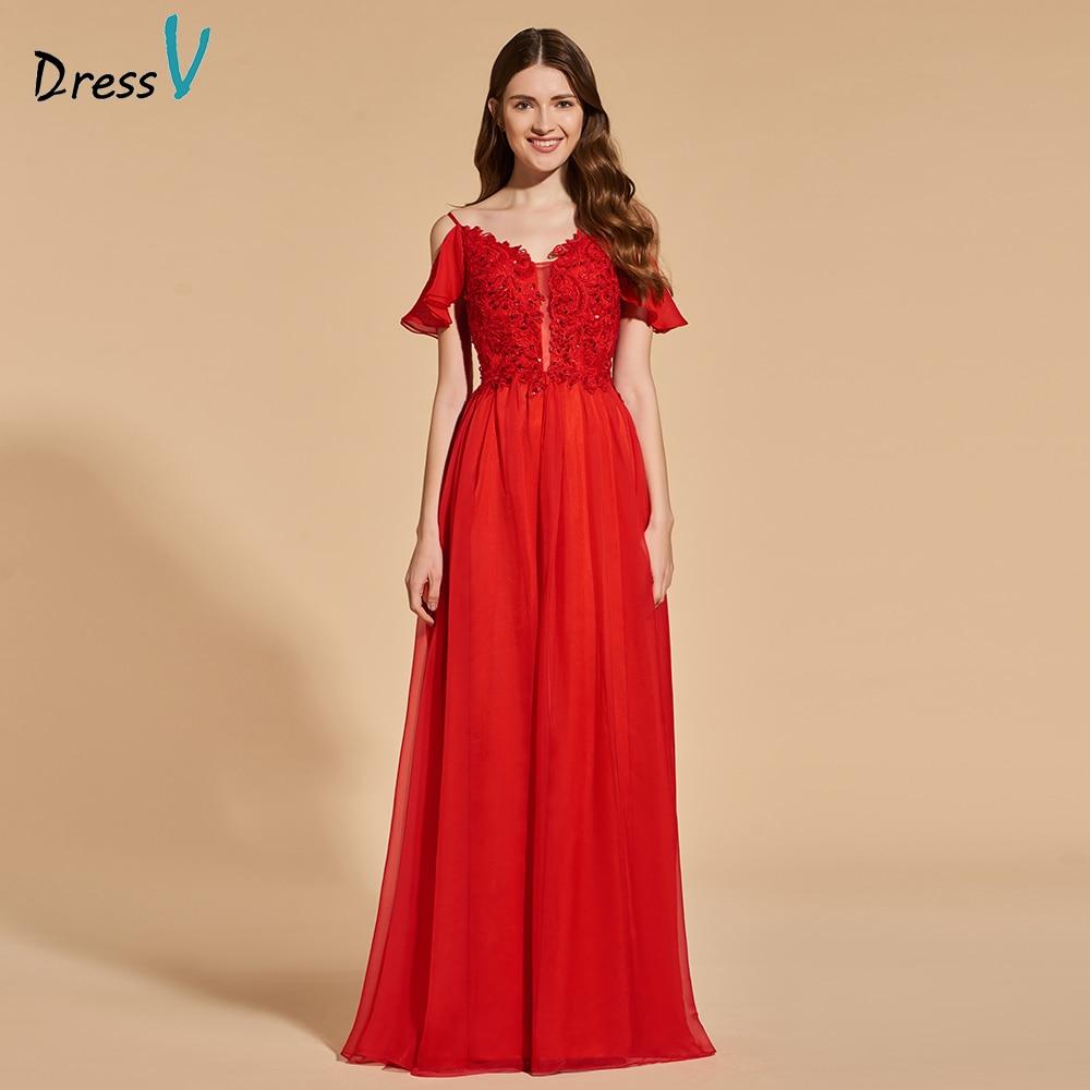 Dressv Beading Party-Gown Appliques Evening Elegant Long V-Neck Red A-Line Floor-Length