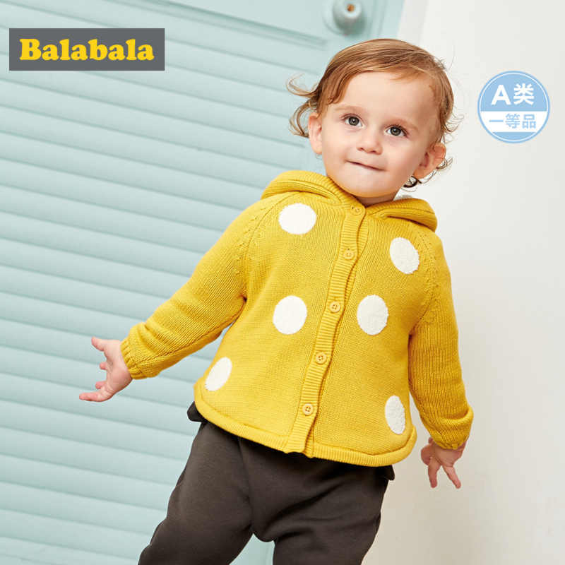 Balabala Infant Baby Fleece-Lined Critter Hooded Jacket in Textured Knit Baby Girl Boy Patterned Jacket with Hood Tapered Waist