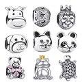 2016 presente 925 sterling silver adorável gato animal encantos fit pandora pulseiras de contas originais amp fazer jóias s053