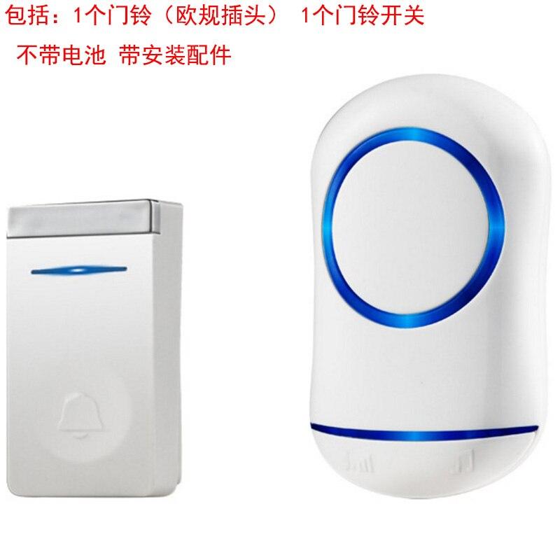 Eu Plug Self Generation Wireless Doorbell Home Smart Electronic Remote Control Long Distance Cordless Doorbell