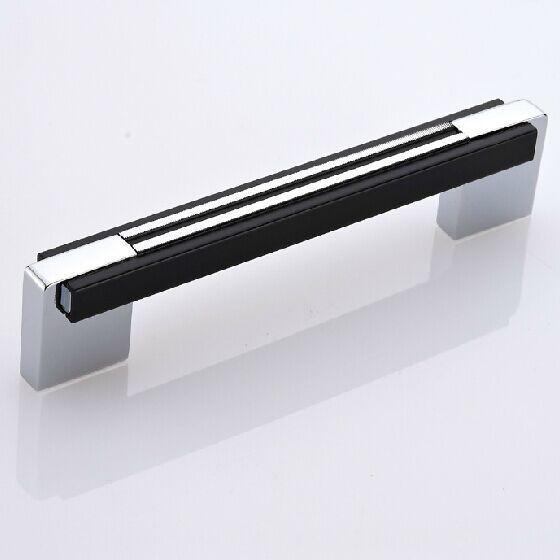 shiny silver kitchen cabinet chrome dresser cupboard pull black wardrobe drawer furniture handle 96mm
