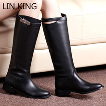 LIN KING Top quality Hot Sale Womens Genuine Leather High Ladies Knee Boots Shoes Winter Rain Boots Fshion Warm Knight Boots