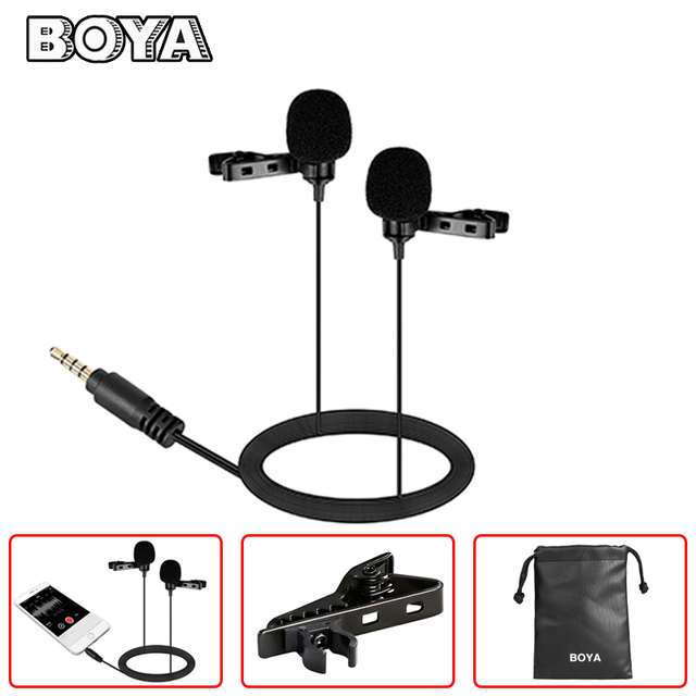 BOYA Dual Lavalier Condenser Microphone for iPhone Samsung Huawei Xiaomi Oneplus Lenovo Android Smartphone Audio Video Mic