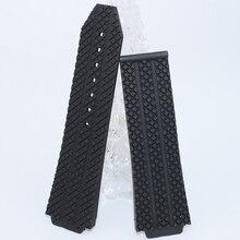 26 mm x 19 mm nuevos Mens negro caucho de silicona Watch Band sin hebilla impermeable envío gratis