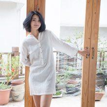QWEEK Outono Das Mulheres Sleepwear 100% Algodão Com Decote Em V Camisola    Sleepshirts Casual Início Noite de Sono Vestido de C.. 0252c0031