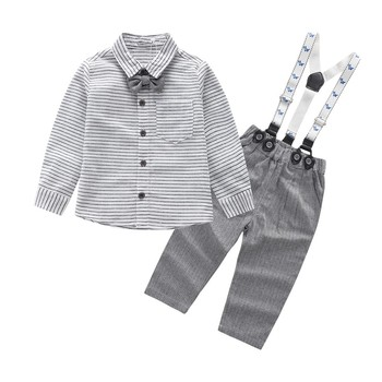 Boys Spring Summer Striped Bow Tie Shirt Set kids baby boy suit gentleman clothesT shirt +pants+Bow for weddings formal clothin