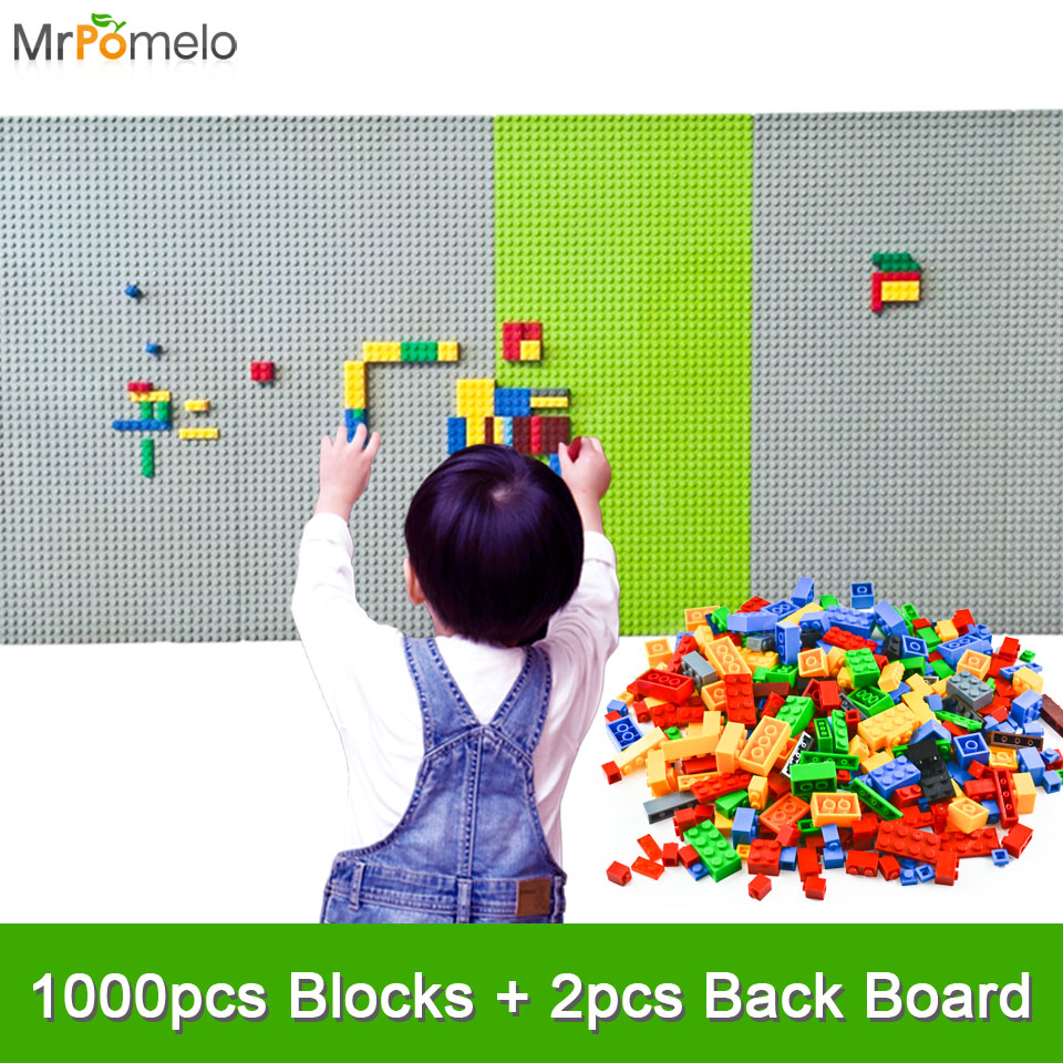 MrPomelo 1000PCS DIY Building Blocks 2PCS 44*22 Dots Baseplate Board DIY Small Bricks Bulk Toy for Child Compatible with Legoing smartable base plate for small bricks baseplates 50 50 dots diy building blocks compatible legoing toys christmas gift 2pcs lot