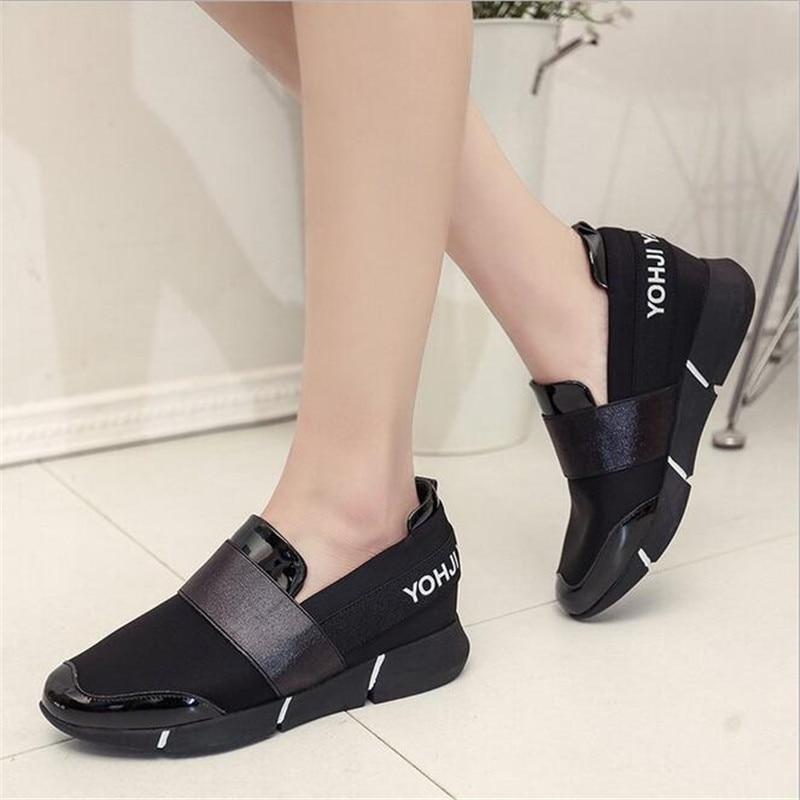 Elgeer Señoras Slip Zapatillas golden Zapatos Black 2018 De Casual Casuales Feminino On Planos Mujeres Verano Plataforma Mujer Tenis fwxUfqSr