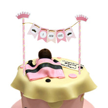 DIY Pink Babys Birthday Cake Flag I AM ONE Mini Banner Topper For little Wedding Party Baking Decor