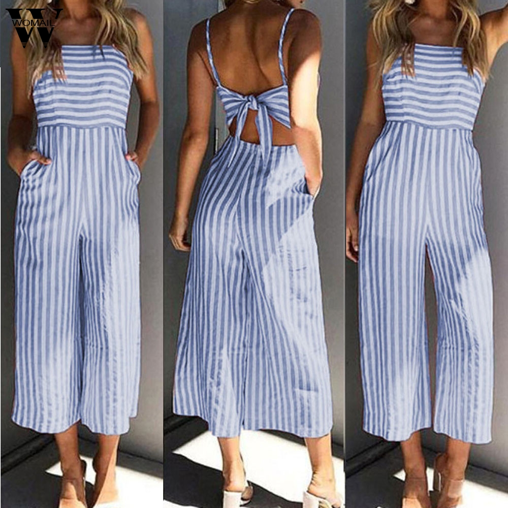 Womail bodysuit Women Summer Fashion Ladies Stripe Printing Sleeveless Long Playsuits   Rompers   Jumpsuit new 2019 dropship M4