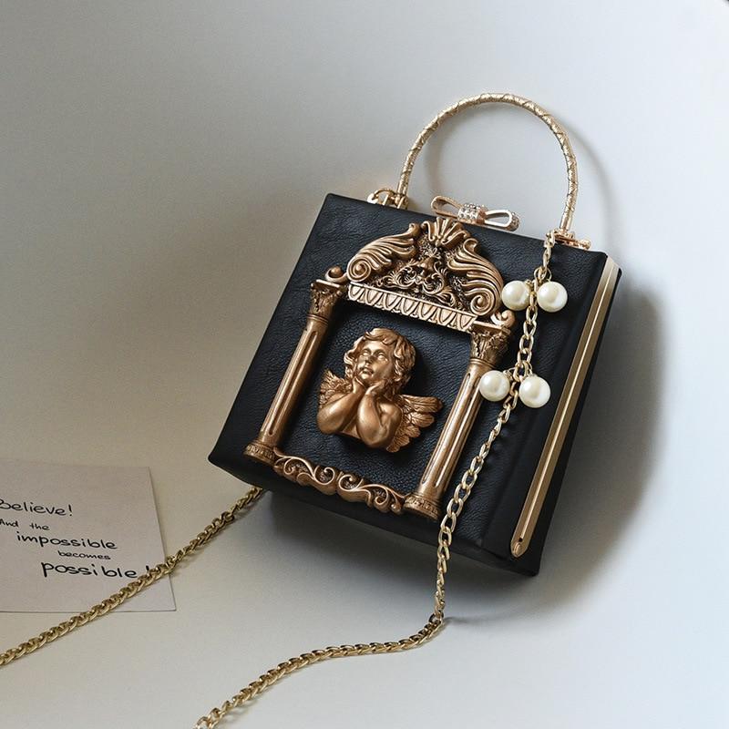 Femmes conçu cadre photo Style sac à main mode tronc de luxe en cuir Pu rétro marque fourre-tout Messenger sacs chaîne sacs à main