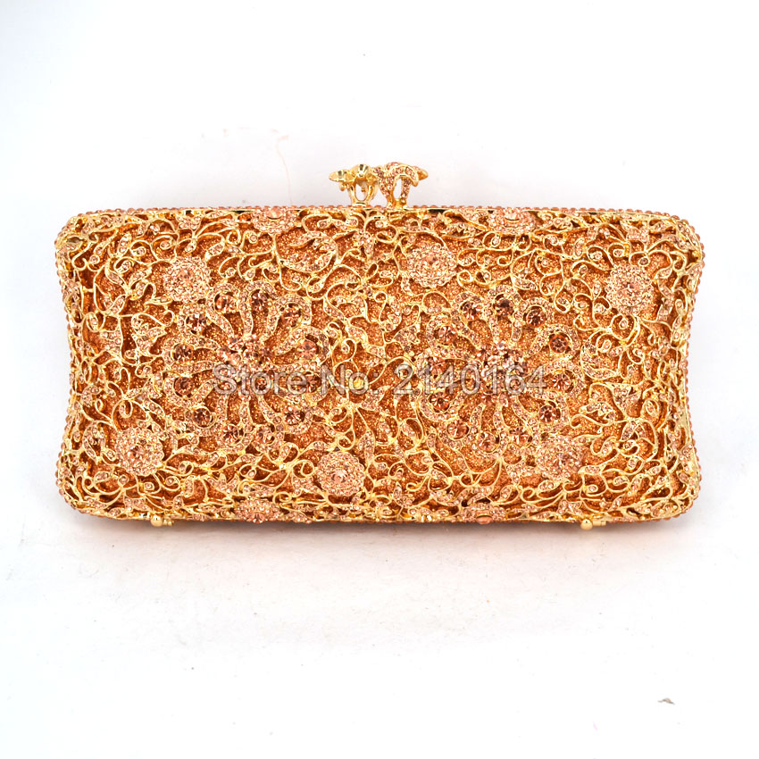 Newest Champagne diamonds and gold hardware Clutch Bag Flower Evening Bag Diamond Studded Handbags Women Bridal Party Purse 616 newest luxury crystal clutch bag flower female evening bag rhinestone diamond studded handbags women wedding bridal party purse