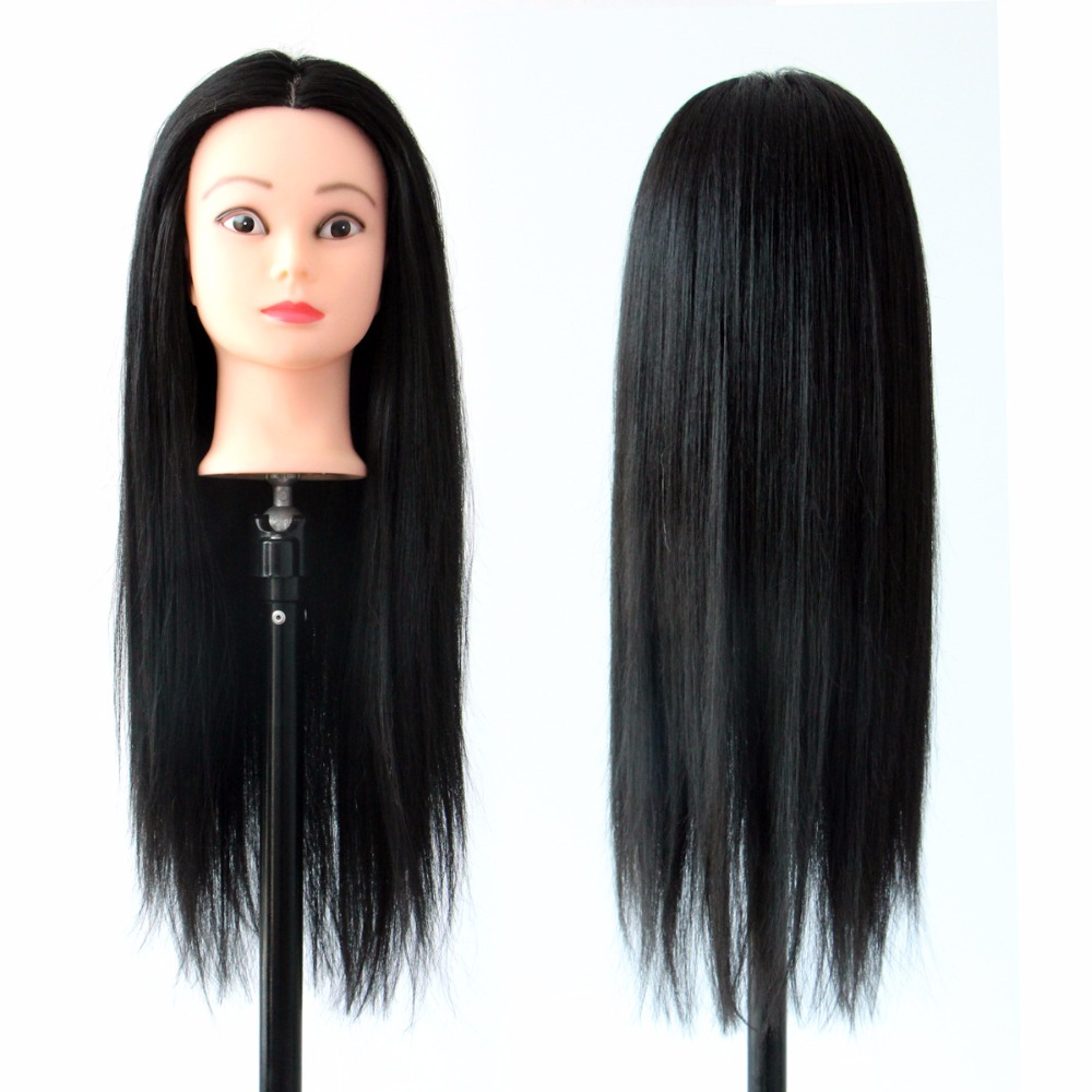Cosmetology Mannequin Head Styling Long Black Hair Hairdressing Doll Heads Wig Models Head in Mannequins from Home Garden