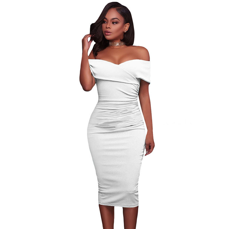 ADEWEL Women Sexy Off Shoulder Strapless Midi Dress Ruched Elegant Bodycon Dress Party Clubwear Pencil dress 35