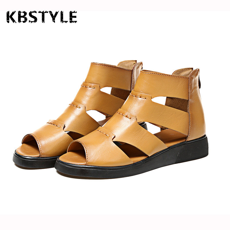 Sandalias Mujer 2017 Summer Roman Style Gladiator Sandals Women Leather Flat Open Toe Fashion Sandals Comfortable Ladies Shoes