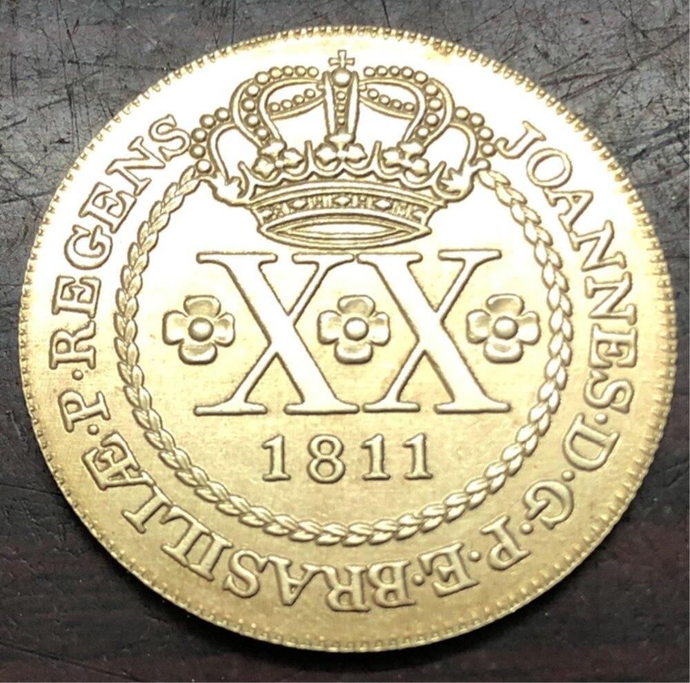 1811 Brazil 20 Reis -Pattern Strike Copper Copy Coin